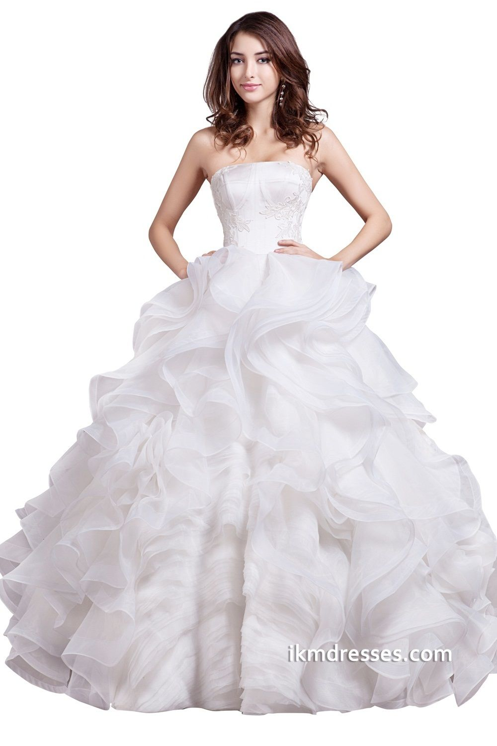 Strapless tiers ruffles bridal ball gowns wedding dresses