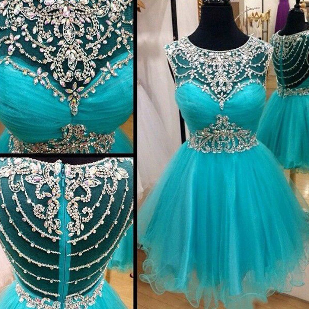 Short blue rhinestones sparkly Boho Vintage casual homecoming prom ...