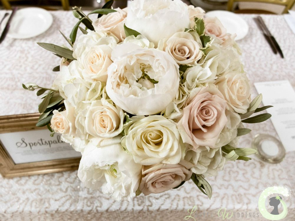 white and nude wedding bouquet of roses peonies and hydrangea romantic wedding bouquet - Garden Rose And Hydrangea Bouquet