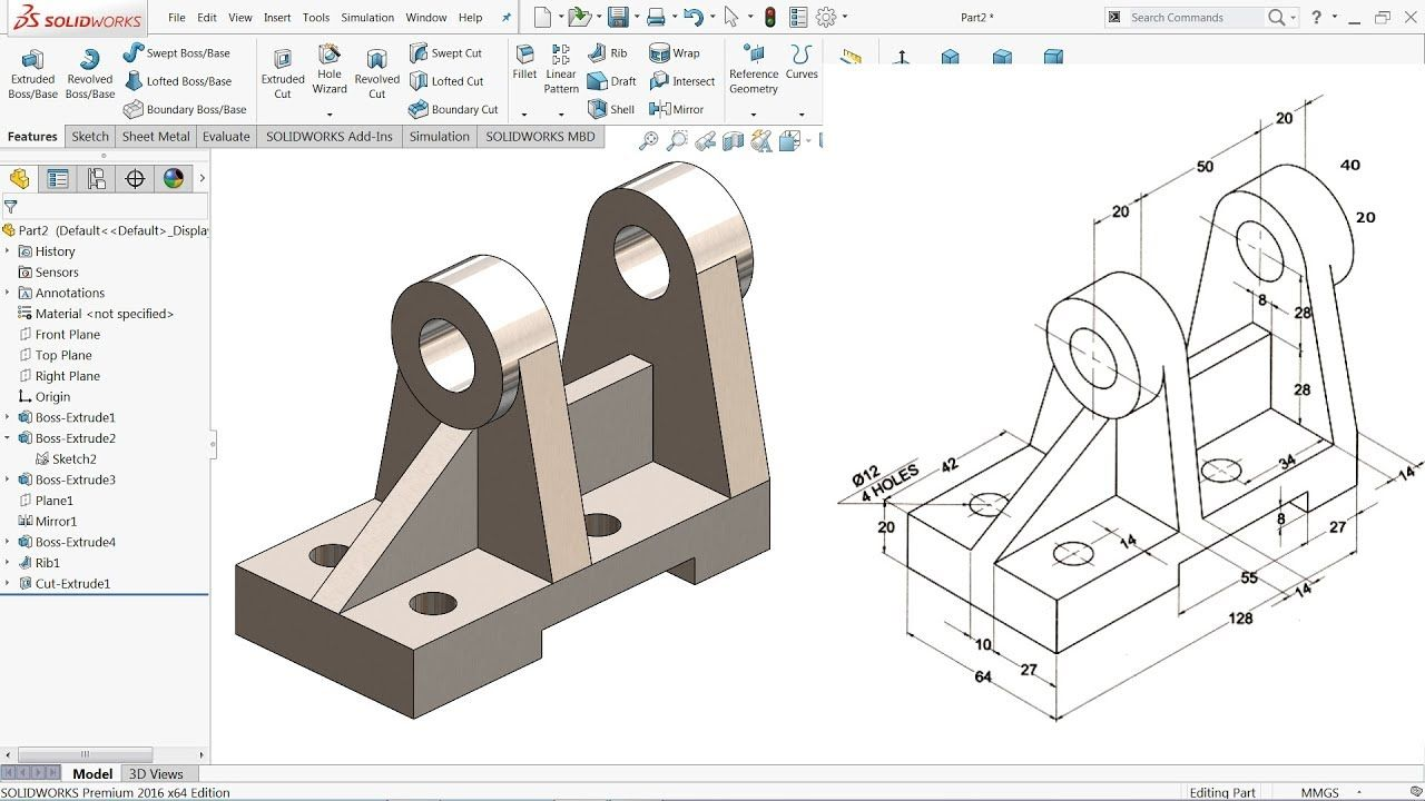 Solidworks Tutorial For Beginners Exercise 57 Youtube Makine