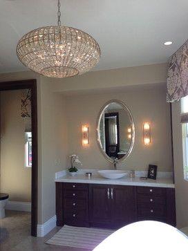 Swarovski Chandelier Lighting In A Beautiful Bathroom