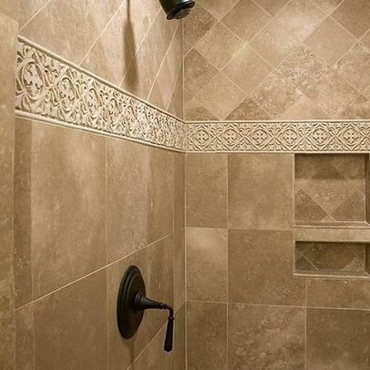 Travertine Border Tile Foter Tuscan Bathroom Patterned