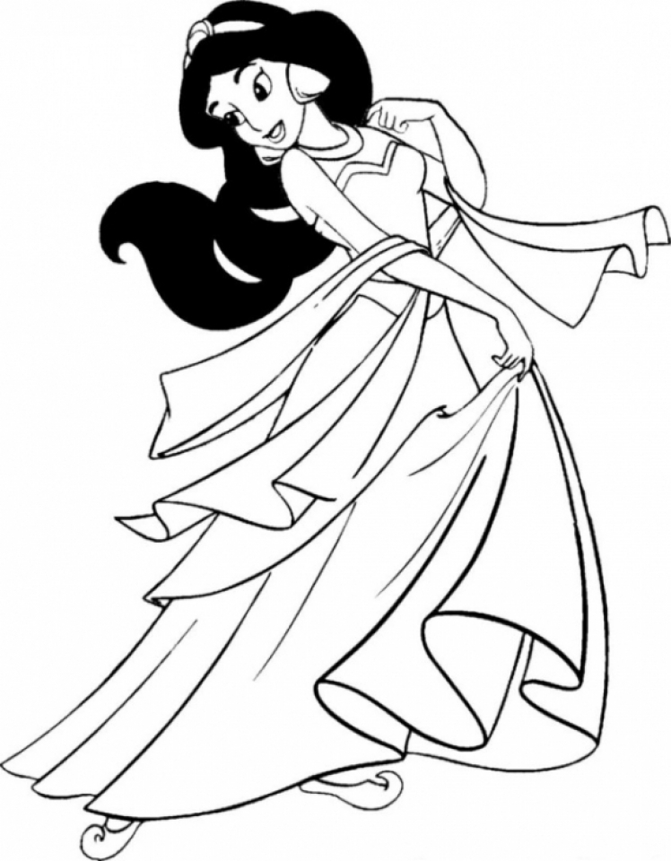 Get This Free Simple Jasmine Coloring Pages For Children 33916 Disney Princess Coloring Pages Disney Princess Colors Princess Coloring Pages