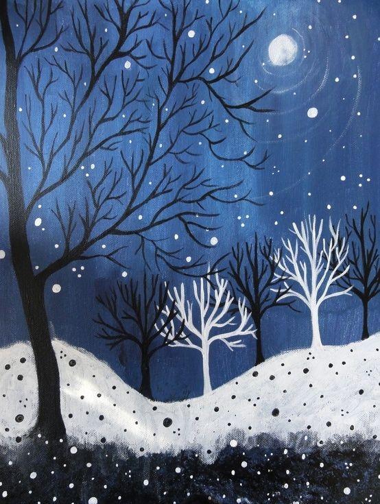 easy night scene paintings - photo #3
