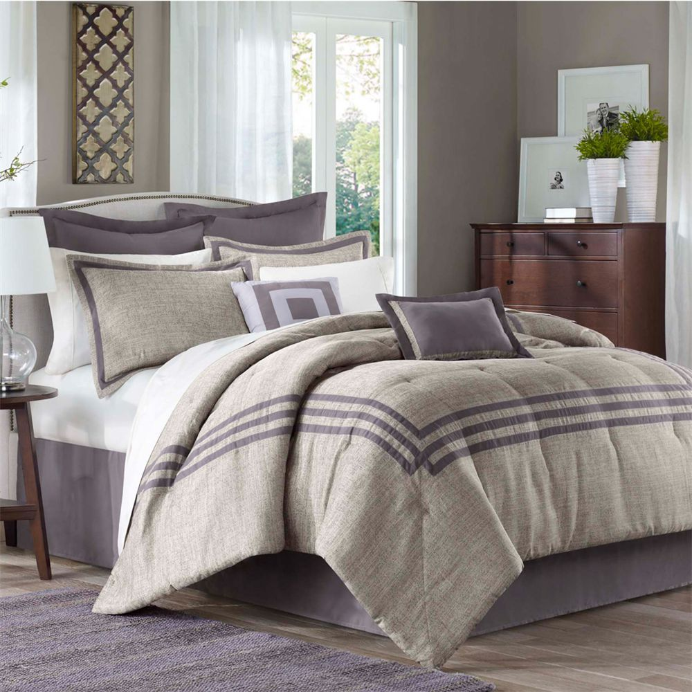 Madison Park Cypress 8 Piece Comforter Set ~  gray and purple
