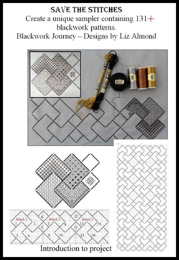 Save the Stitches- Block 1 Liz Almond | Blackwork Journey | www ...