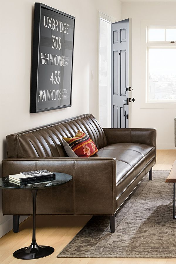 The Channeled Back Of Our Goodwin Leather Sofa Sets This Elegant Sofa Apart And Comfortably Suppo Furniture Modern Furniture Living Room Living Room Upholstery