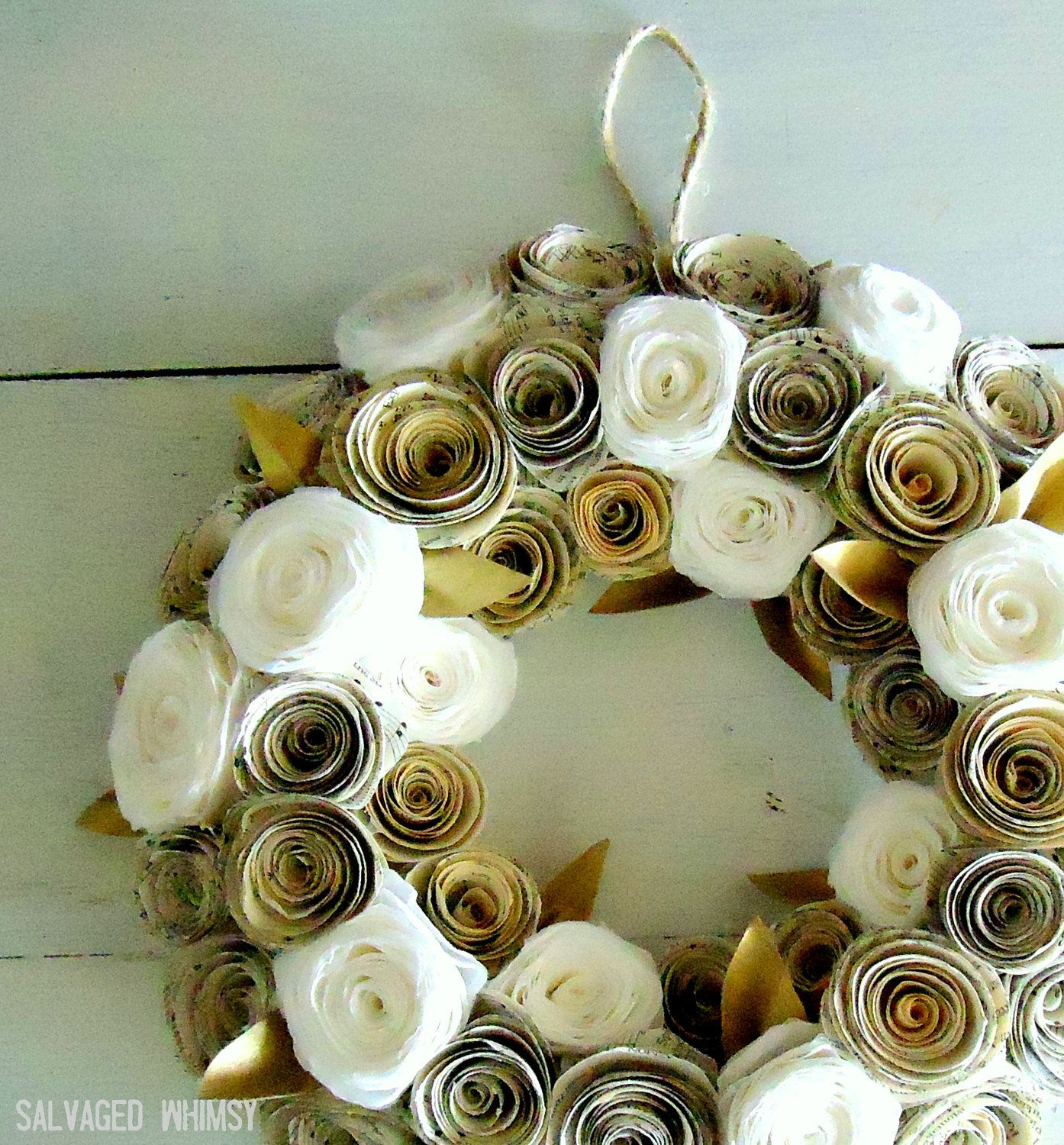10 Book Page And Coffee Filter Rolled Paper Flower Wreath Wreath