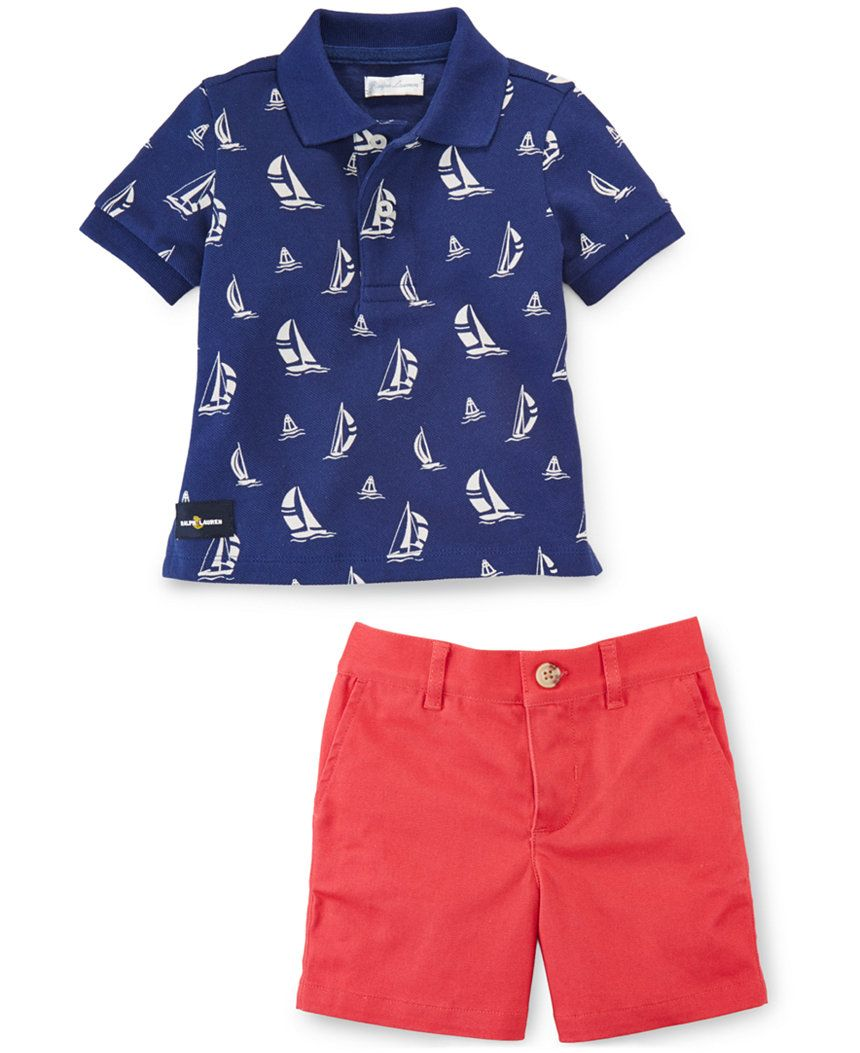 9e7011e333ab1 Ralph Lauren Baby Boys' Sailboat Graphic Polo Shirt & Shorts Set - Baby Boy  (0-24 months) - Kids & Baby - Macy's