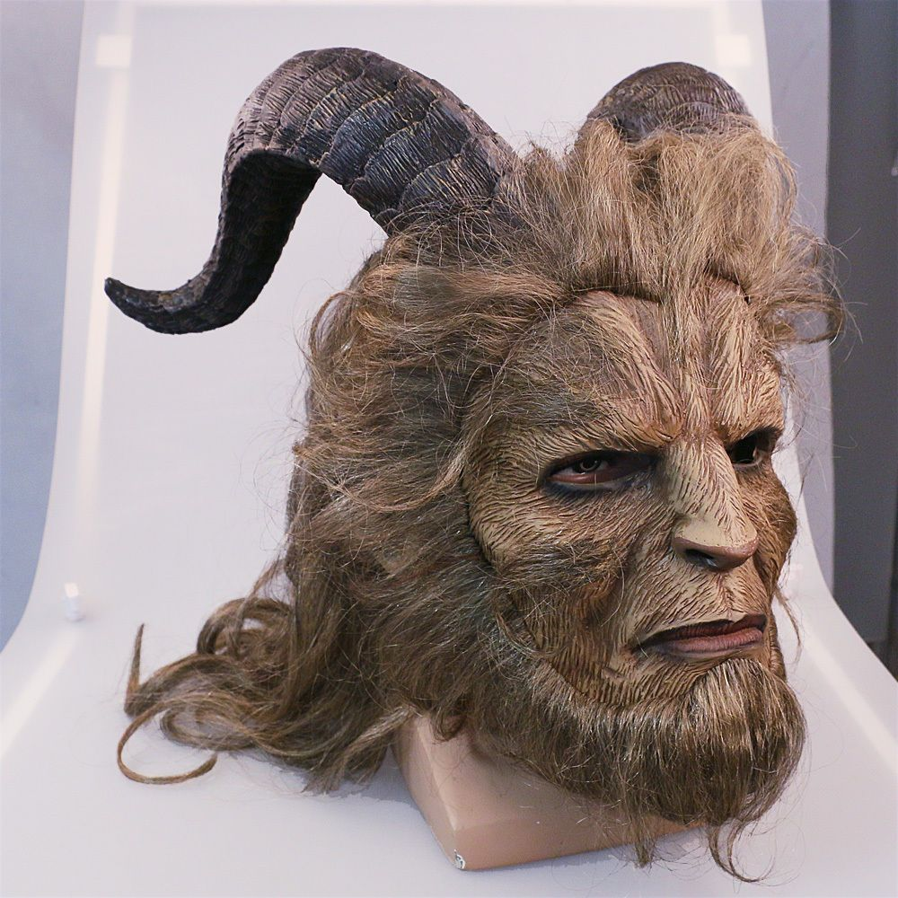 Beauty and The Beast Adam Mask Wig Prince Horn Curly Hair Movie Dan Stevens Prop