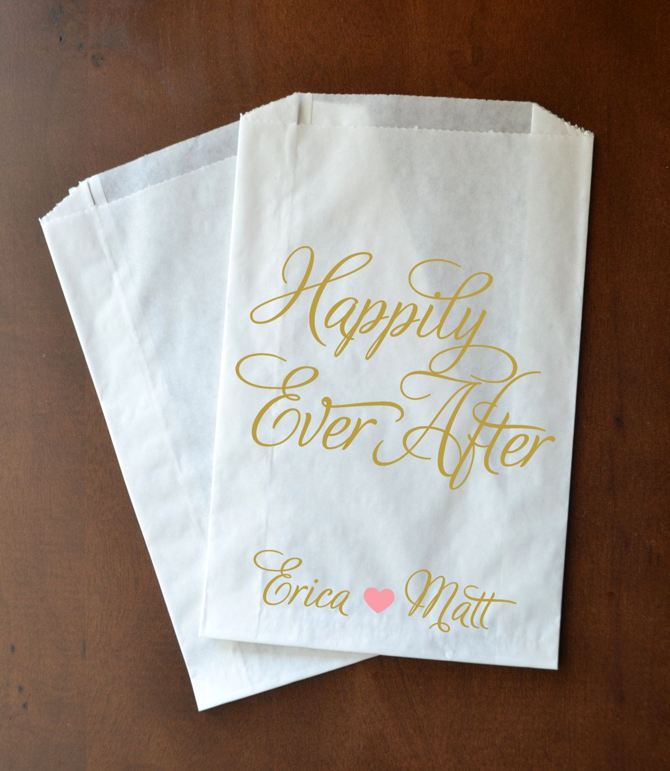 Gold Happily Ever After Wedding Favor Bags Candy by TheGalaHouse ...