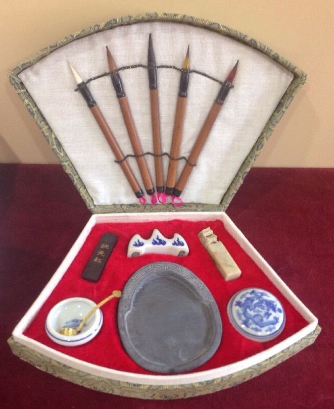 WOW Vintage Asian 14 PC Calligraphy Brush Writing Set Paint
