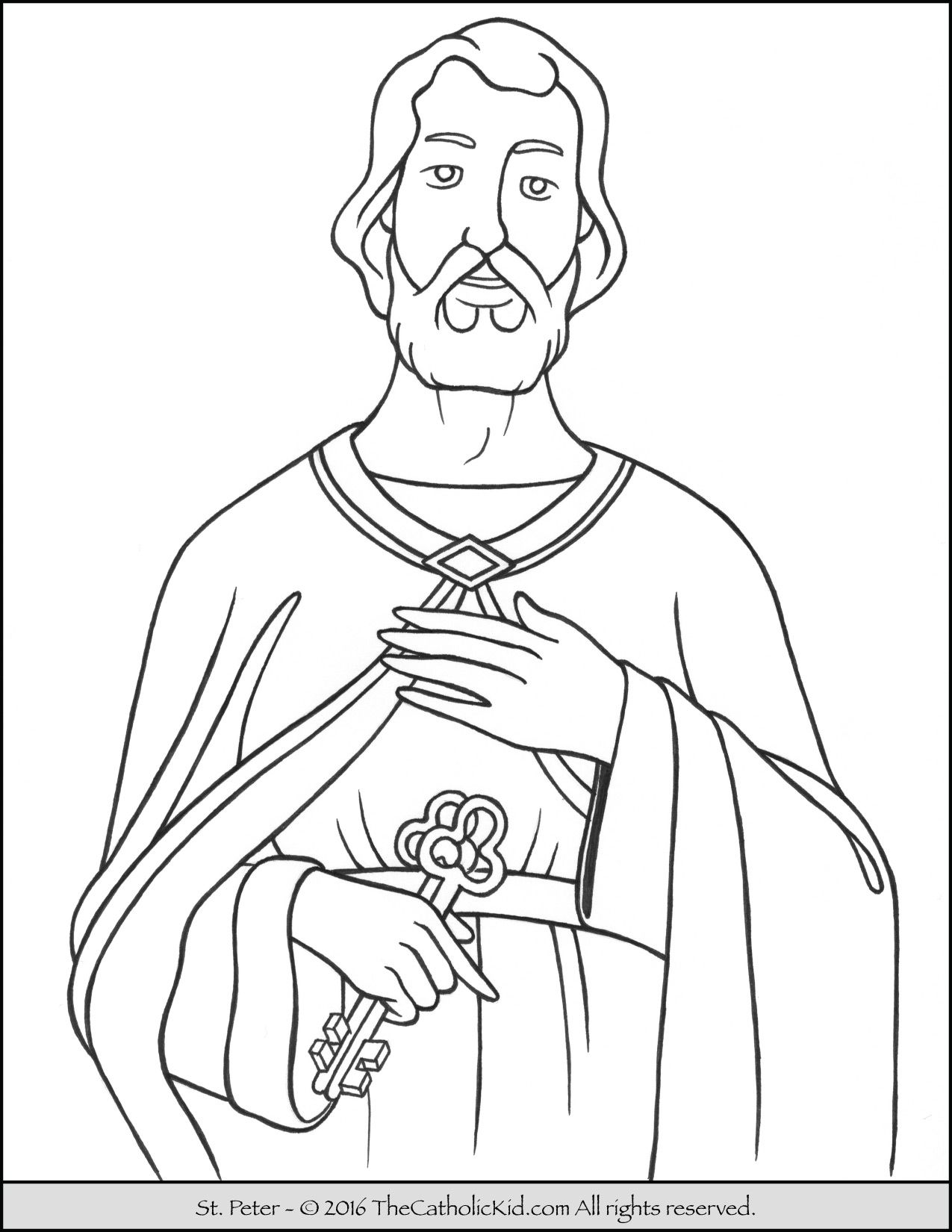 Saint Peter Coloring Page - The Catholic Kid | Catholic Saints ...