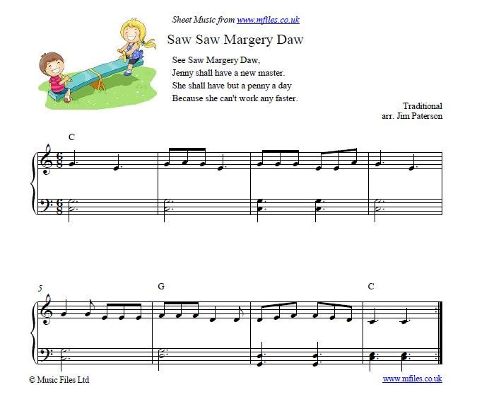 See Saw Margery Daw Nursery Rhyme Piano Music