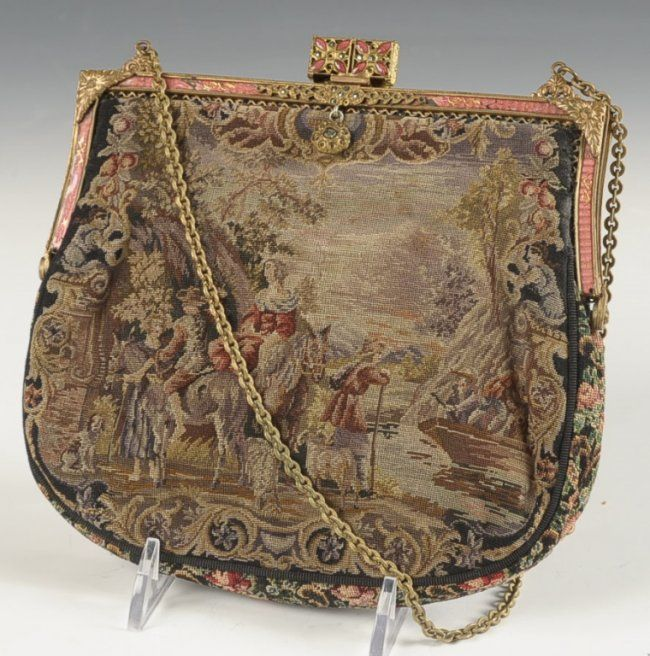 SWITKES PETIT POINT PURSE WITH GUILLOCHE FRAME.