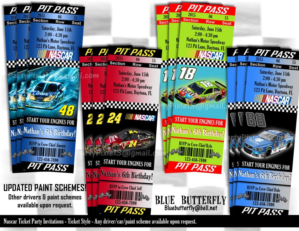 NASCAR Party Invitation Ticket Style Printable and Customized ...