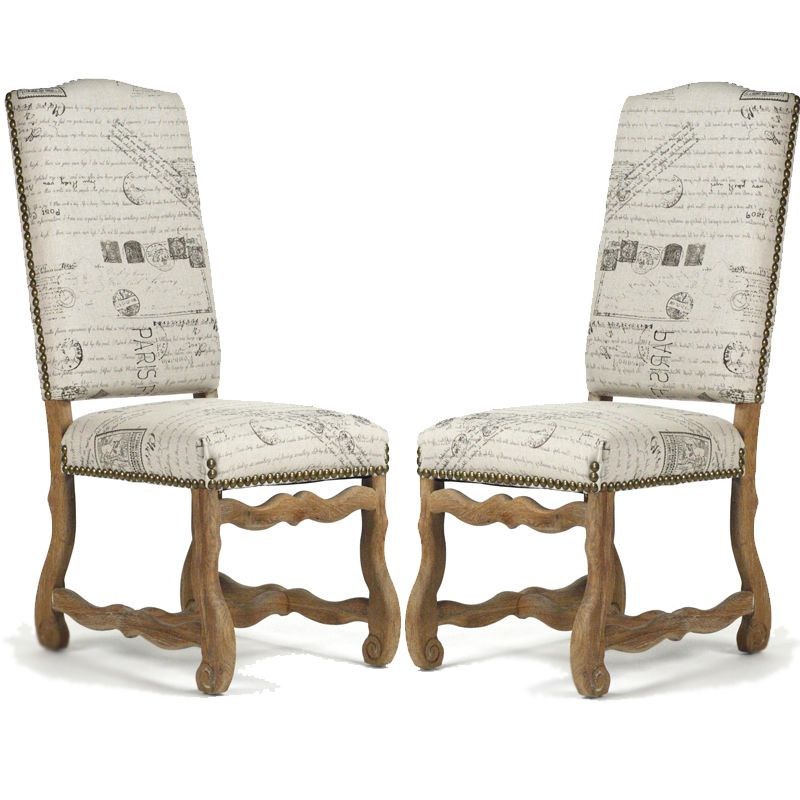 French Script Wood Side Chair This Dining Room Chair Features A Fun Postage  Stamp Pattern Set