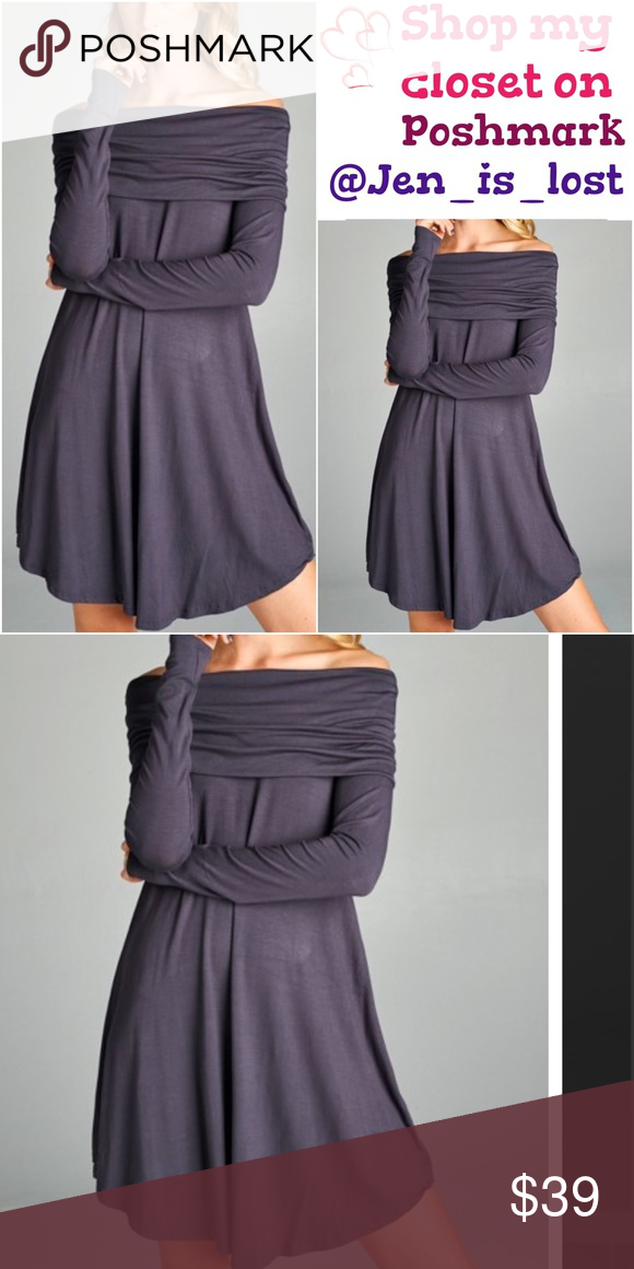bd7bb0e7068b Steel Gray Off The Shoulder Dress Loose fit