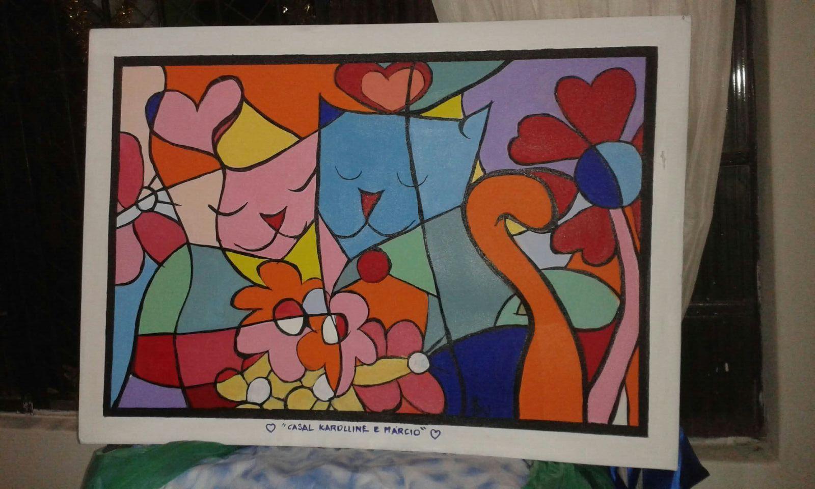 Inspirada em Romero Brito pintei este quadro para um jovem casal. Sueli Pessoa - Plick Ateliê