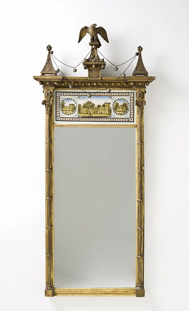 Pillar Looking Glass With Eagle And Festoons United