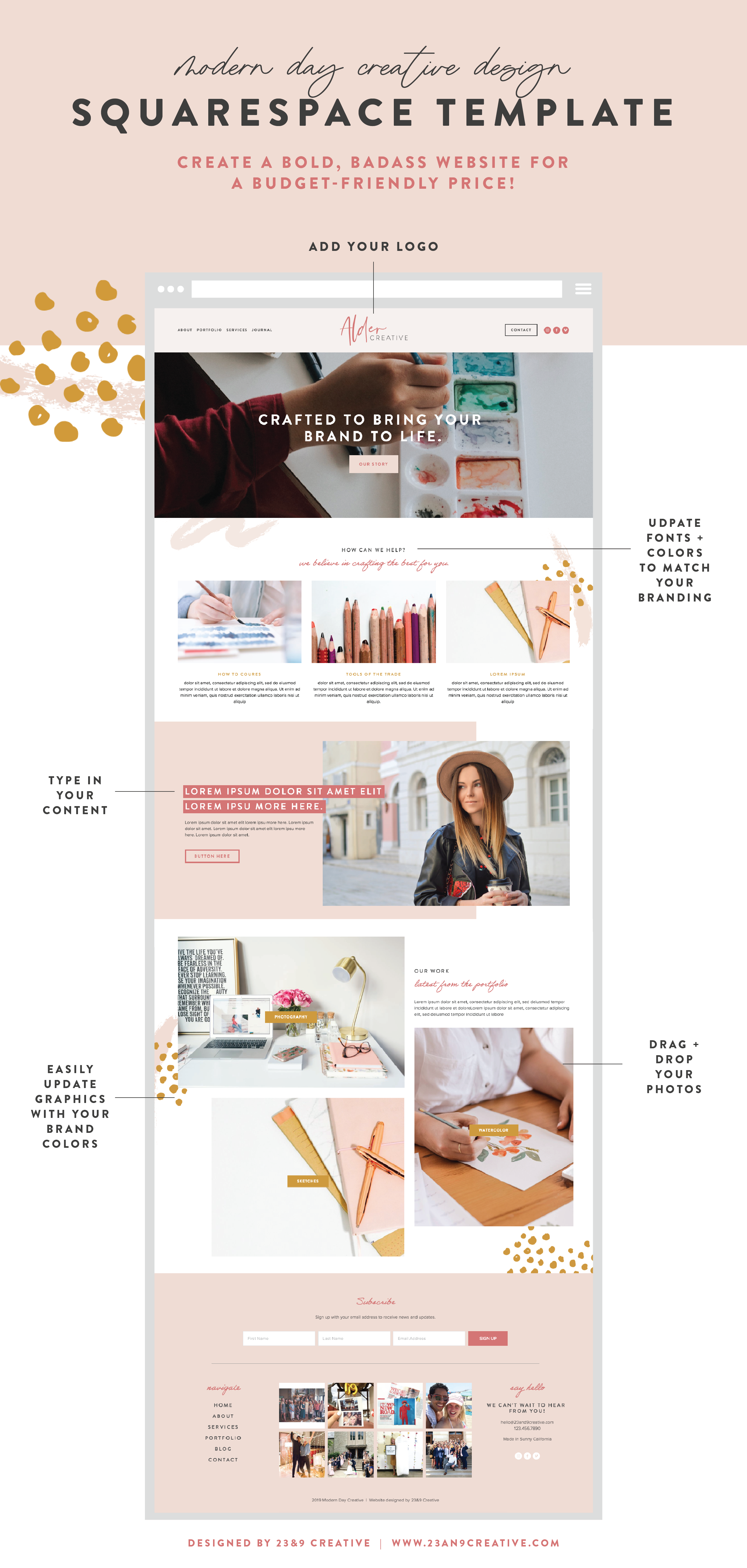 SQUARESPACE WEBSITE TEMPLATE Design:  The Modern Day Creative | Customizable Graphics | Squarespace Training | Installation
