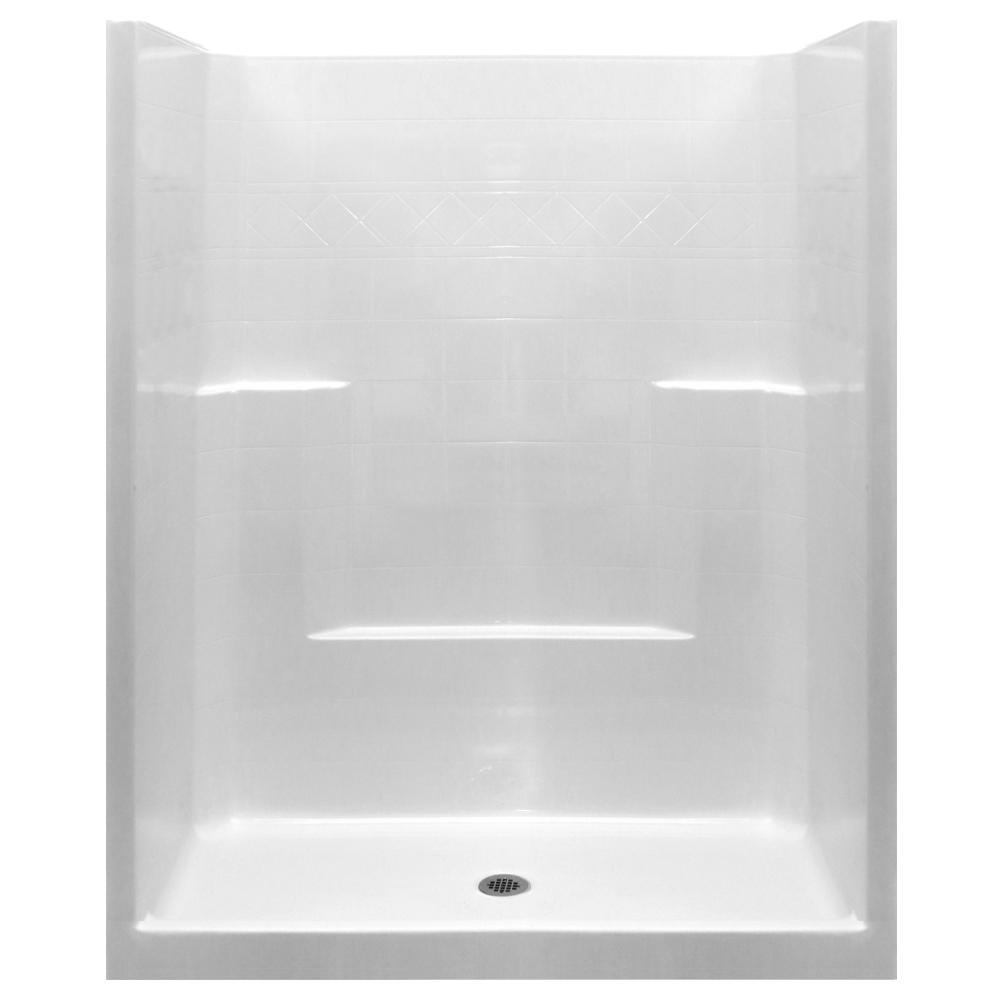 Ella Standard 33 In X 60 In X 77 In 1 Piece Low Threshold Shower Stall In White With Center Drain One Piece Shower Stall One Piece Shower Mold In Bathroom