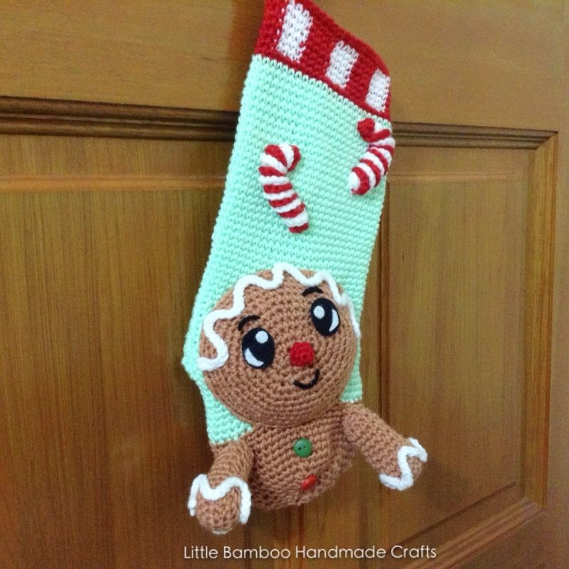 Gingerbread Man Christmas Stocking crochet pattern by Little Bamboo ...