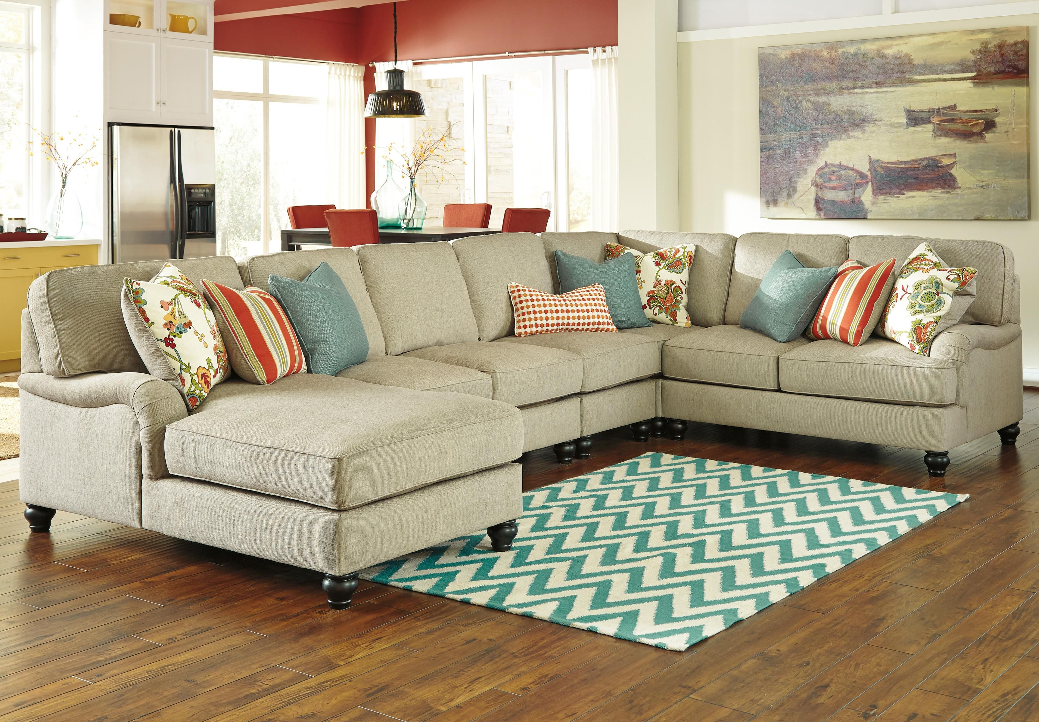 Kerridon 5 piece sectional with left chaise by benchcraft for Bassett sectional sofa with chaise