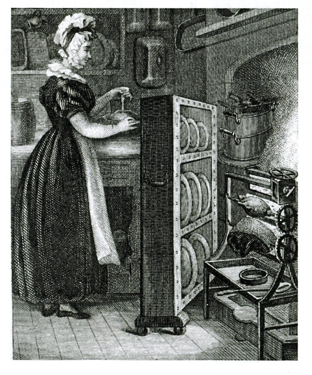 18thcentury servant using a plate warmer to keep food hot as it went to
