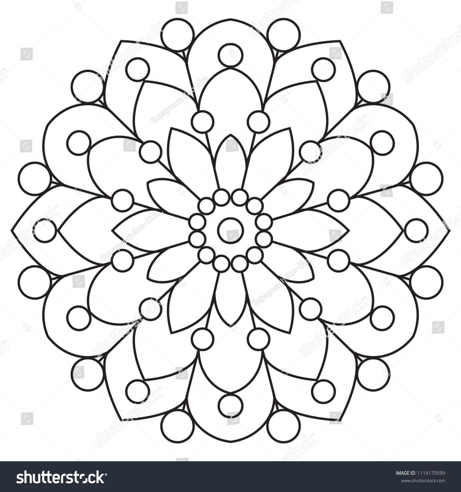 Easy Mandalas For Relaxation Meditation Coloring Basic Mandala In Circle Floral Shape For Beginner Easy Mandala Drawing Simple Mandala Design Simple Mandala