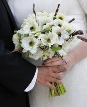 Black And White Wedding Bouquet Anemone Flowers