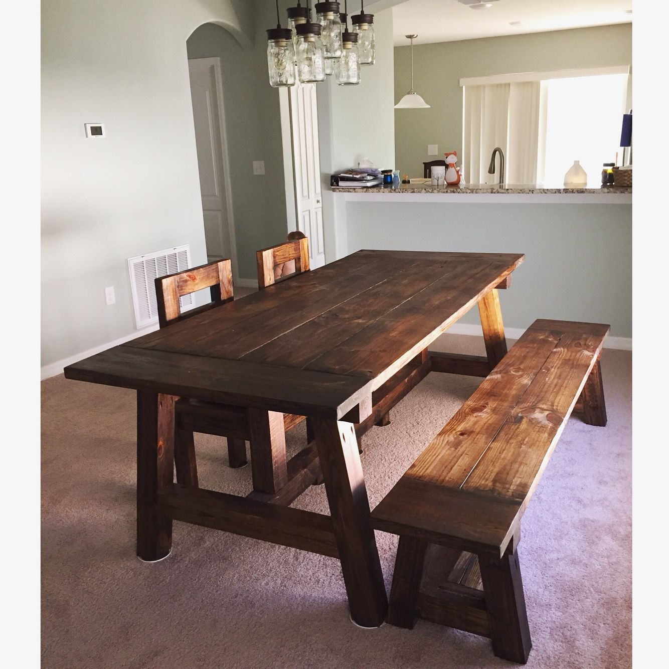 Rustic dining room table set in southern yellow pine wood ...