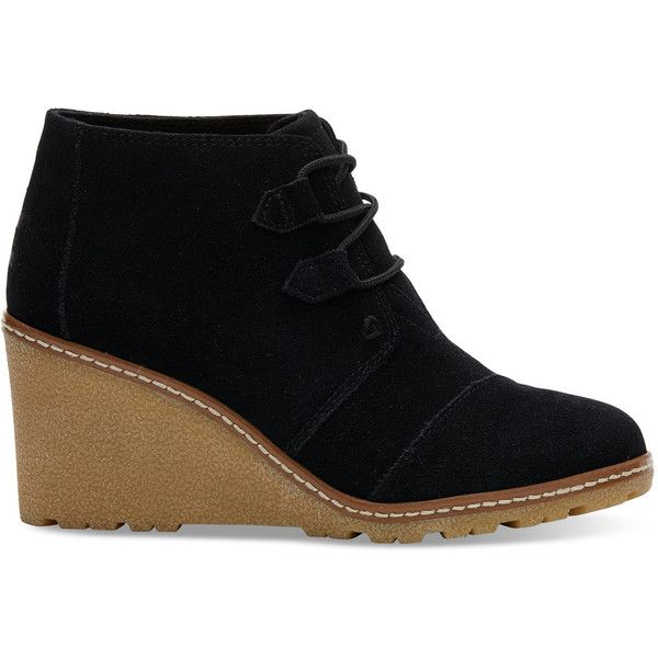 f1330379897 TOMS Black Suede With Faux Crepe Women s Desert Wedge Booties ( 120) ❤ liked  on