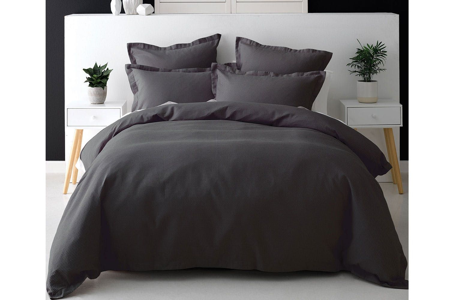 Nova Waffle Charcoal Duvet Cover Set By Savona Duvet Covers
