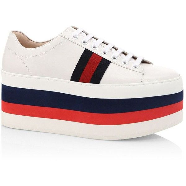 Gucci Peggy Leather Rainbow Platform Sneakers (14.460 ARS) ❤ liked on  Polyvore featuring shoes, sneakers, gucci trainers, rainbow sneakers,  platform ...