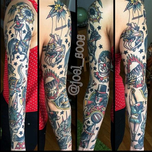 traditional tattoo sleeve oldschool tattoo sleeve by joel
