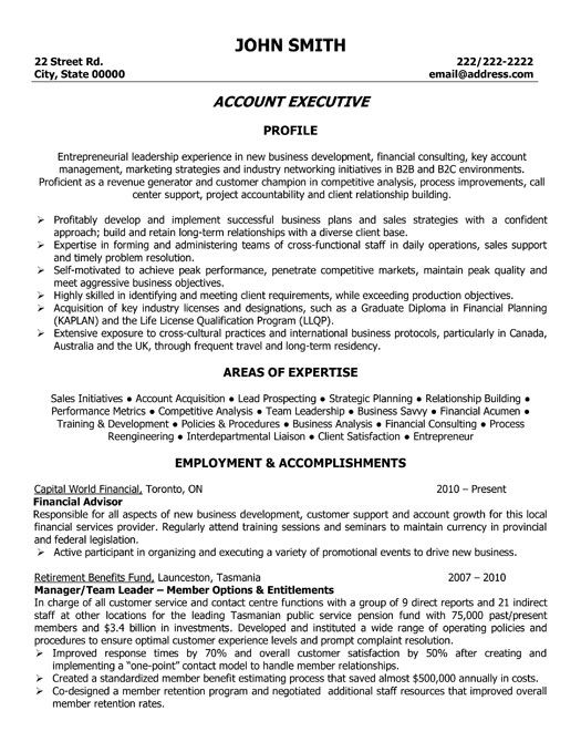 Sample Resume Account Executive | Resume Cv Cover Letter