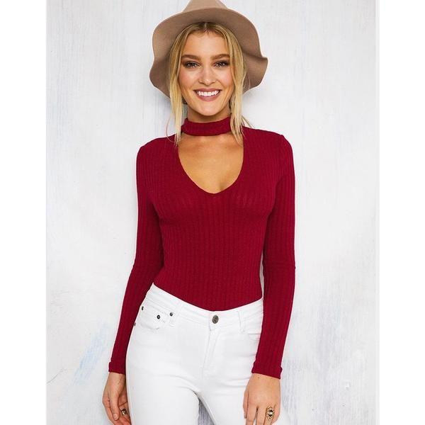 Choker Knitted Slim V Neck Bodysuit - Trendsology eb1ca4ea9