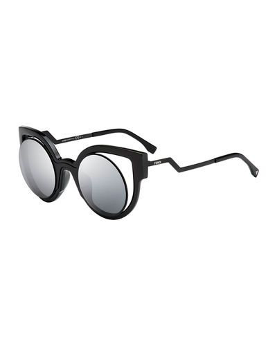 3d3b0d16c0435 D12LQ Fendi Open-Inset Round Cat-Eye Sunglasses