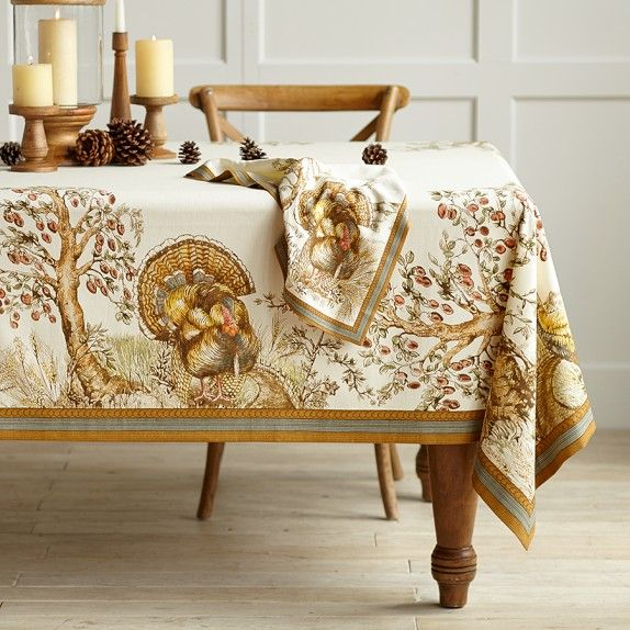 Printed Thanksgiving Turkey Tablecloth Williams Sonoma