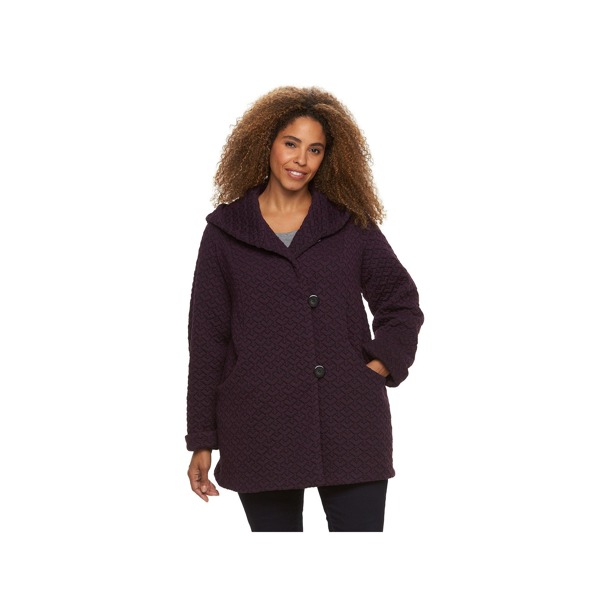 0eb53ce9162 Plus Size Gallery Hooded Quilted Fleece Jacket