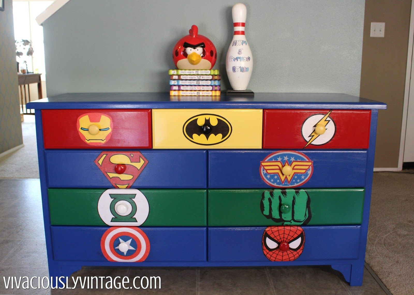 Superhero Dresser Commission With Images Superhero Room Diy