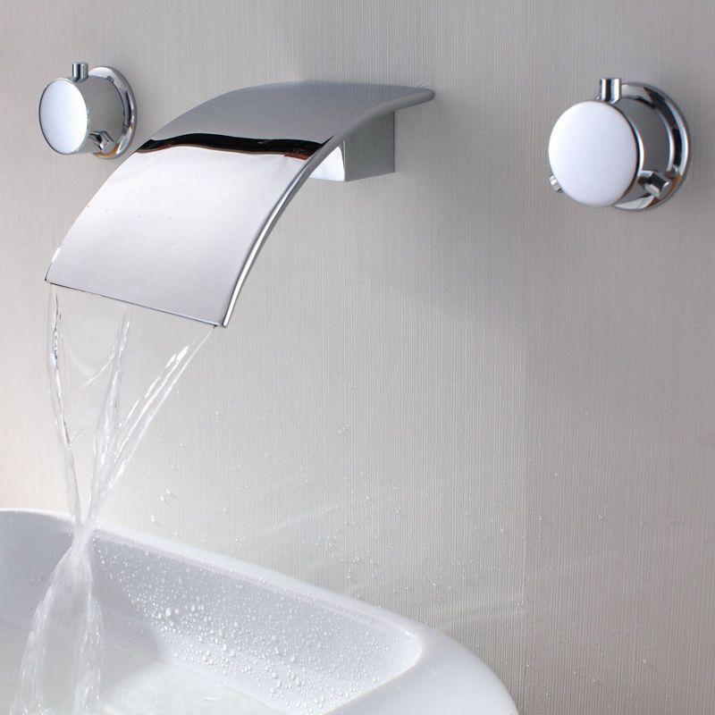 Modern 3 Hole Waterfall Wall Mounted Bathroom Basin Mixer Tap