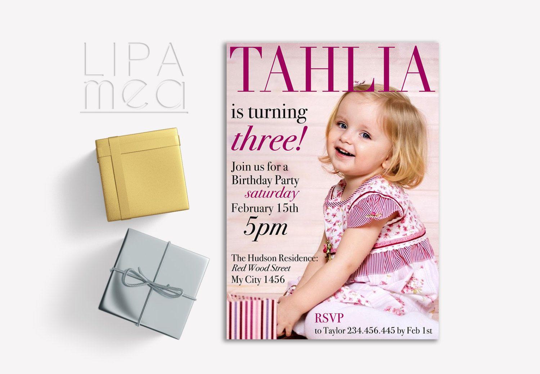 Girl Birthday Invitation Printable, Photo Birthday Invitation ...