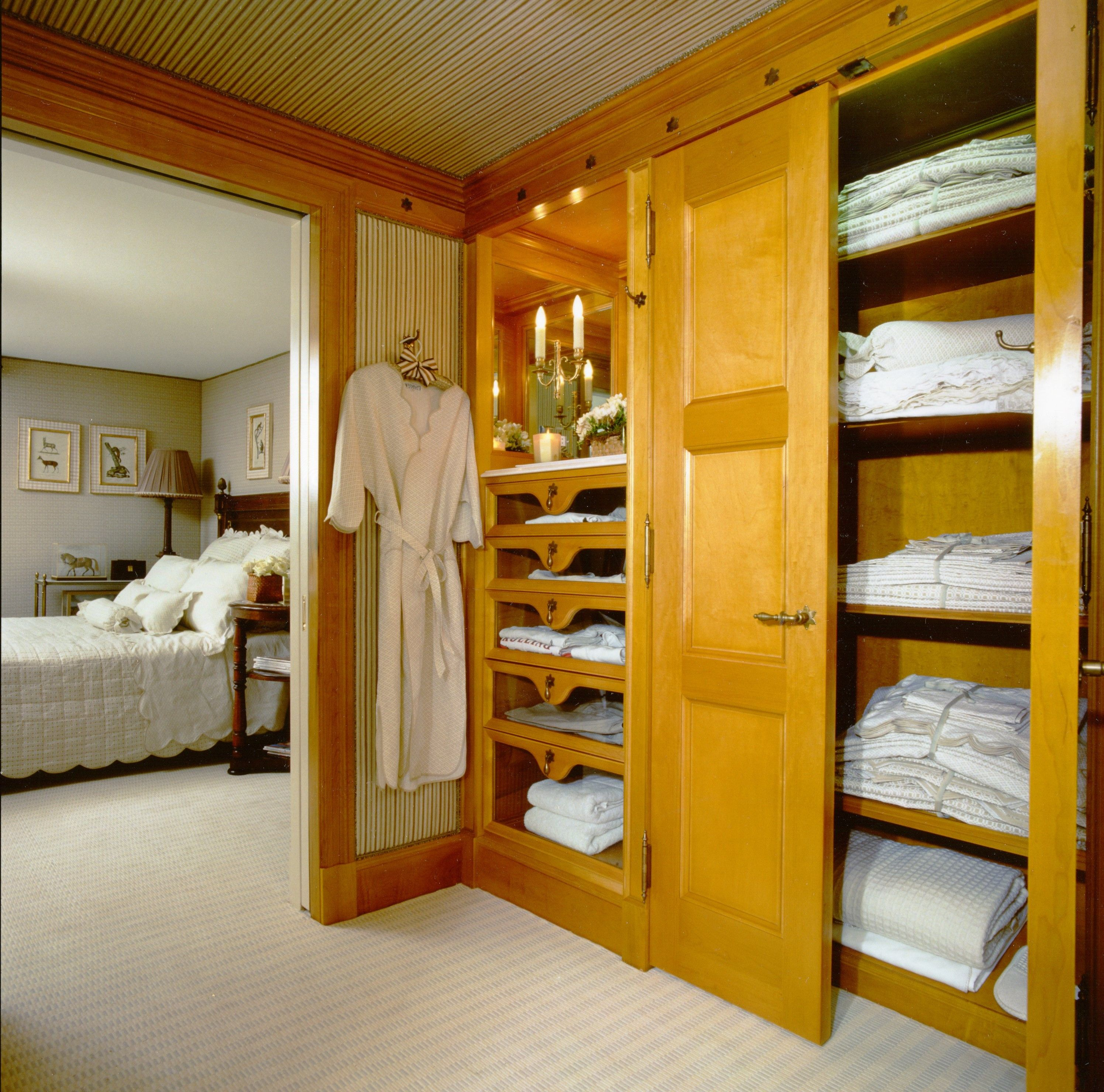 Closet in a guest bedroom, for storage of linens and