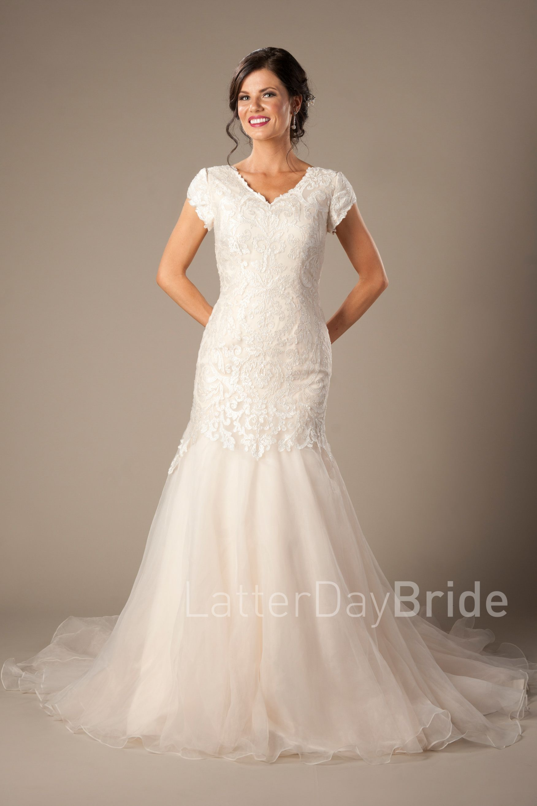 0e7d1f8a92d6 Langdon | Modest Wedding Dress by LatterDayBride & Prom | SLC Utah |  Worldwide Shipping | Fit & Flare | Lace | Sweetheart Neckline | Gown  available in White ...