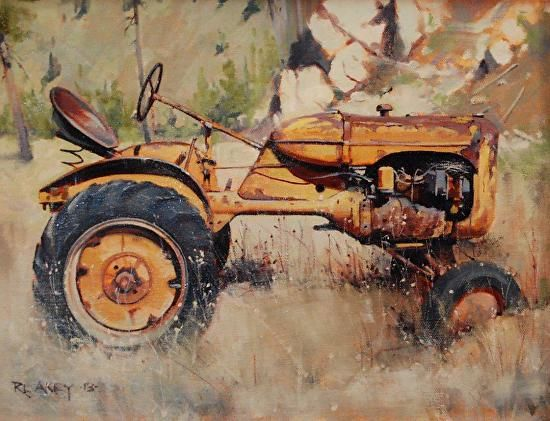 Repurposed By Rob Akey Oil 16 X 12 Just Off The Easel Updated 10 Hours Ago Just Off The Easel Three Tracto Tractor Art Farm Paintings Barn Painting