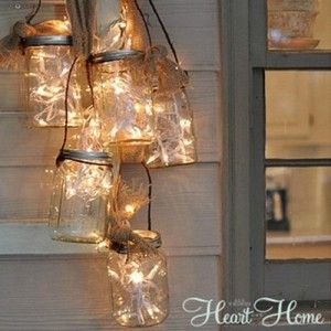 String Together Fairy Lights And Mason Jars
