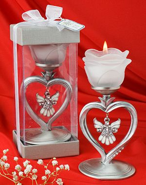 Heart Shaped Candle Holder With Hanging Angel Charm From Wedding Favors Unlimited