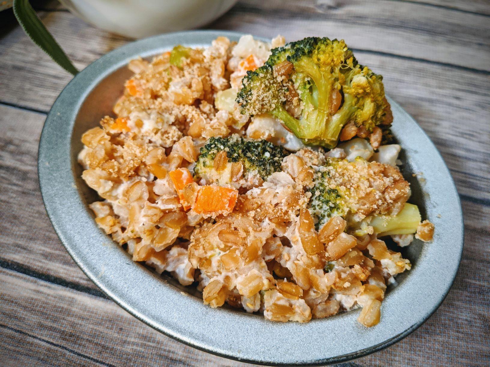 Broccoli cauliflower farro gratin casserole whole foods